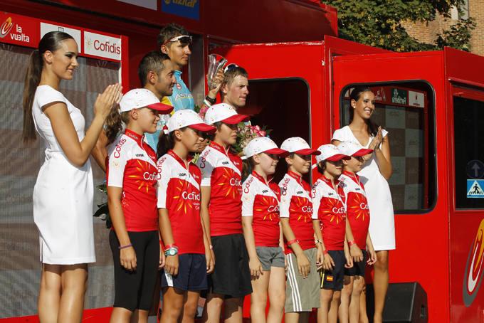 Podium de la 4º etapa de la Vuelta Ciclista a España, en Logroño