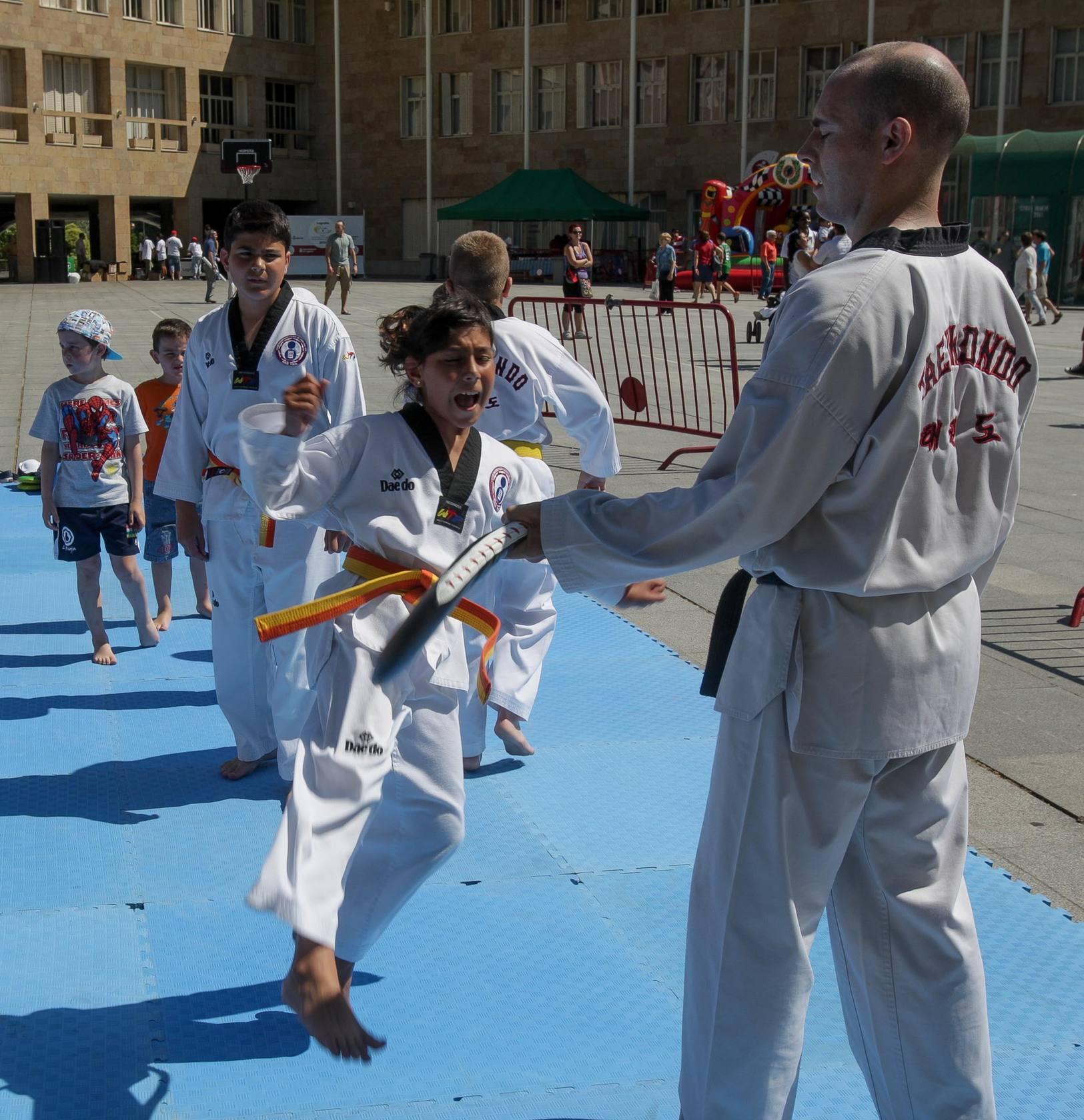 Los niños aprenden taekwondo